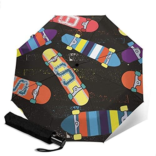 Automatischer Dreifach-Regenschirm Unisex Bedruckter Regenschirm Manueller Regenschirm Bright Skateboard