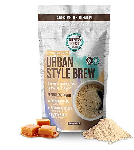 Urban Style Brew (Caramel Maca) - Premium Instant Koffee mit ⍟ MCT-Öl - Kollagen Peptiden - Inulin ⍟ Collagen Drink - Bulletproof Coffee - KetoUp - Keto Drink