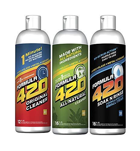 Formula 420 Bundle Pack : 1 Bottle Glass Metal Ceramic Pipe Original Cleaner 12 oz 1 Bottle ALL NATURAL Formula 420 Pipe Cleaner  Cleans  Glass Pyrex Metal Ceramic 16 oz amp 1 Bottle Formula 420 S