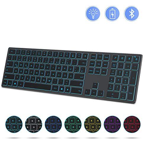 Jelly Comb Bluetooth Tastatur Beleuchtet, Ultradünne Kabellose Wiederaufladbare Tastatur mit 7 Farbigen Hintergrundbeleuchtung, Fullsize QWERTZ Layout Funktastatur für Windows PC, Laptop, Grau