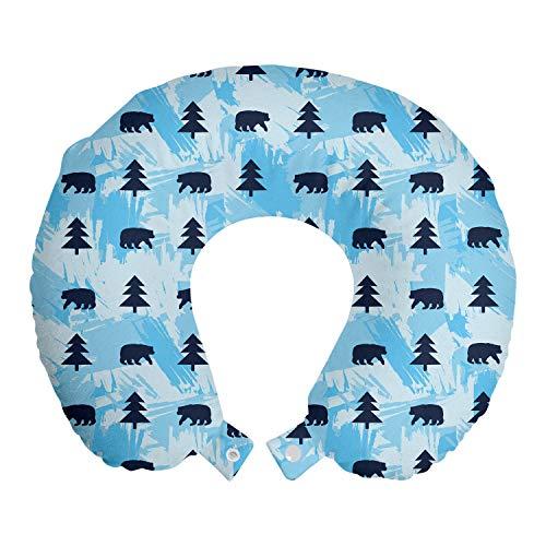 ABAKUHAUS Alaska Cuscino da Viaggio, Orsi e Abeti, Accessorio in Schiuma di Memoria per Viaggio, 30 cm x 30 cm, Indigo Blue Sky