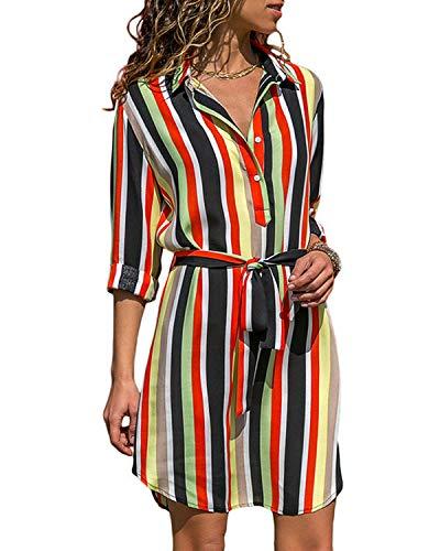 kenoce Tunika Kleid Damen Knielang Blusenkleid Kurze Kleider Freizeitkleid Hemdkleid Strandkleider Langarm Mit Gürtel Gestreiften 2 XL