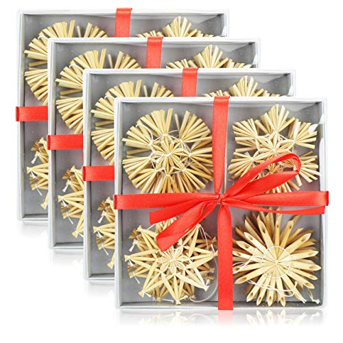com-four® 48-teiliges Christbaum-Schmuck - Stroh-Anhänger für den Weihnachtsbaum - natürlicher Christbaum-Behang - Weihnachtsdekoration - Ø 6 cm