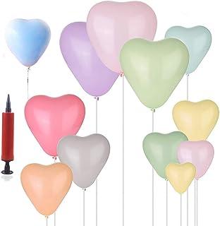 REYOK Macaron Globos de látex Pastel,100pcs Heart Shaped Candy Pastel Latex Balloons Globos con Bomba para Bodas, Fiestas,...