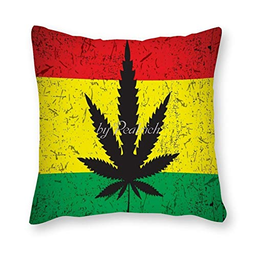 Viowr22iso Decorative Pillow Covers 22x22, Cannabis Rasta Flag Jamaica Art Cushion Cover Pillow Case Home Decor for Couch Sofa Bed Chair