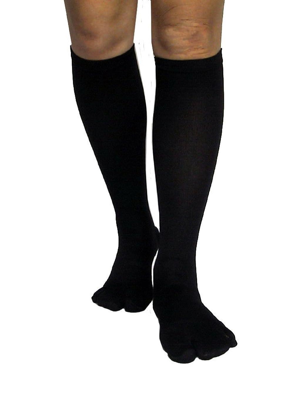 怠感被害者拒絶するカサハラ式歩行矯正ロングテーピング靴下(3本指タイプ)「黒22-24」
