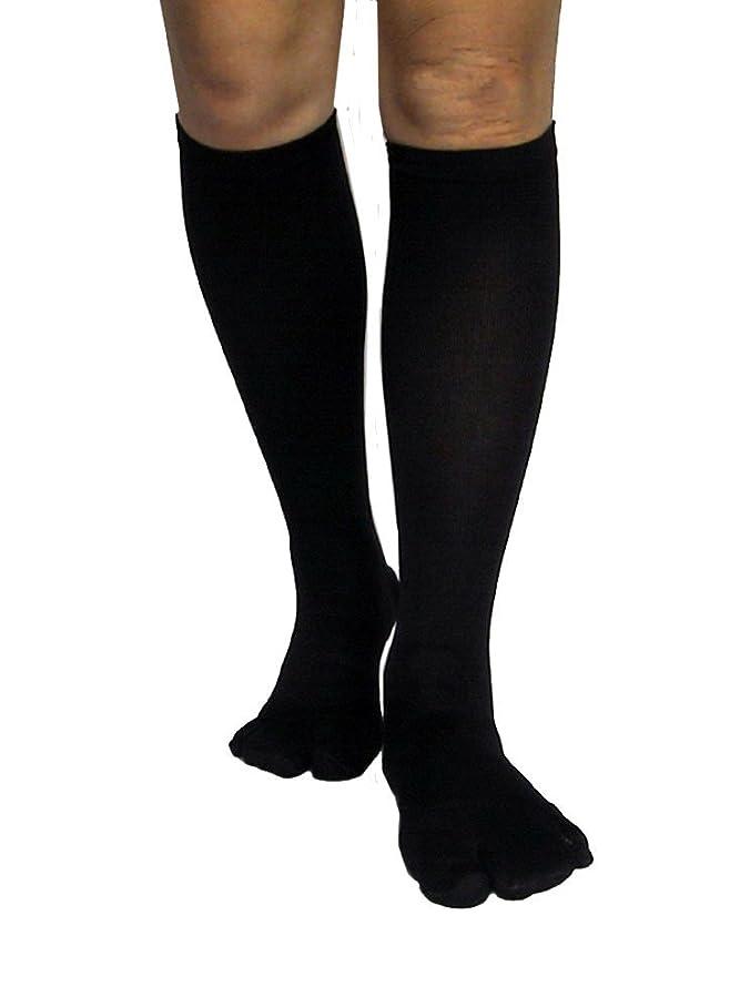始まりつかの間クルーズカサハラ式歩行矯正ロングテーピング靴下(3本指タイプ)「黒22-24」