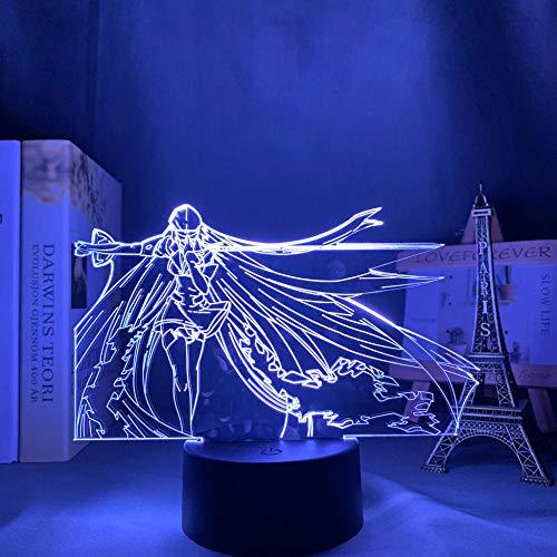 Lámpara de noche 3D lámpara de ilusión de anime Acrílico LED Luz Luz Lámpara Anime Akame GA Matar por Deco Deco Luz Manga Regalo Cumpleaños Akame GA Kill Anime Light Esdeath ZMSY