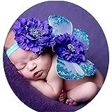 Chlyuan-bb Fotografía de Vestuario Hada Rosa Princesa Tutu Wing Wand Set for niñas Vestir Bebé recién Nacido Shoot Atrezzo Trajes (Color : Púrpura, tamaño : S)