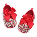 Baby Girls Mary Jane Flats Sparkly Bow Diamonds Princess Dress Shoes Anti-Slip Infant Crib Shoes (6-12 Months Toddler, Colorful Red)