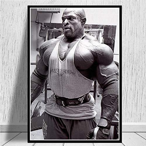 yitiantulong Ronnie Coleman Fitness Gym Sport Star Muscle Man Pintura Al Óleo Lienzo Póster Impresiones Cuadros De Pared Cuadros Sala De Estar Hogar A-61 (50X70Cm) Sin Marco