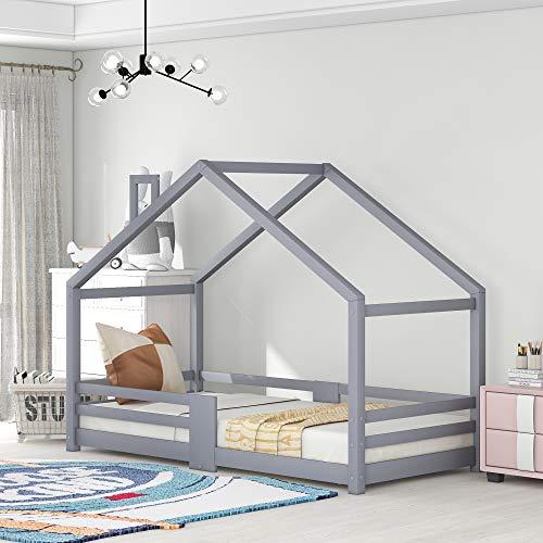 ZOEON Kinderbett 90 x 200 cm mit Rausfallschutz - Hausbett für Kinder mädchen aus Holz im skandinavischen Haus Stil, Lattenrost | Massivholz Natur Hell Grau