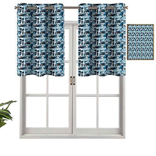 Hiiiman Panel de cortina de bloqueo UV, patrón de palmeras tropicales con efecto grunge y composición abstracta, juego de 2, 137 x 60 cm para habitación de niños