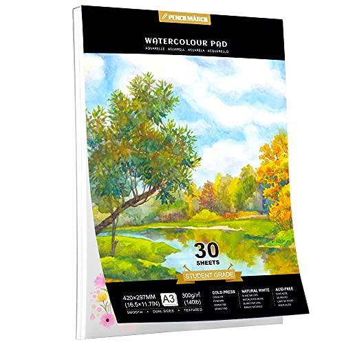 Watercolour Paper A3 30 Seiten für Aquarell Zeichnungen,kalt gepresster 300gsm Watercolour Zeichenblock, Aquarellpapier,ideal für Aquarelltechniken und Skizzen-PENCILMARCH