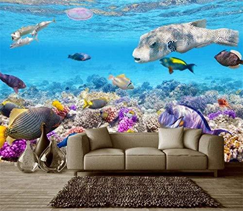 gaolinf Fototapete Wandbilder Korallen Landschaft Wandfarbe Marineblau schöne 3D dekorative Wanddekoration-150cmx105cm