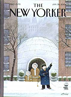 New Yorker cover Adrian Tomine igloo doorman hails cab for Eskimos 1/26 2004