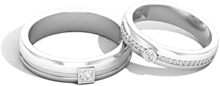 IGI Certified Diamond Pareja de Alianza, Anillo de media eternidad para His Her, IJ-SI Color Clarity, Anillo de compromiso de aniversario