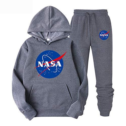CTOOO Herren Damen NASA Druck Kapuzenpullover und Hosen 2 Sets, Paar Hoodie Sweatshirt und Pants S-XXL (M,grau1)