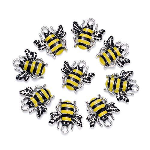 Cheriswelry 10 x Anhänger mit gelbem Bienen-Anhänger für Schmuck, Schlüsselanhänger, Armbänder.