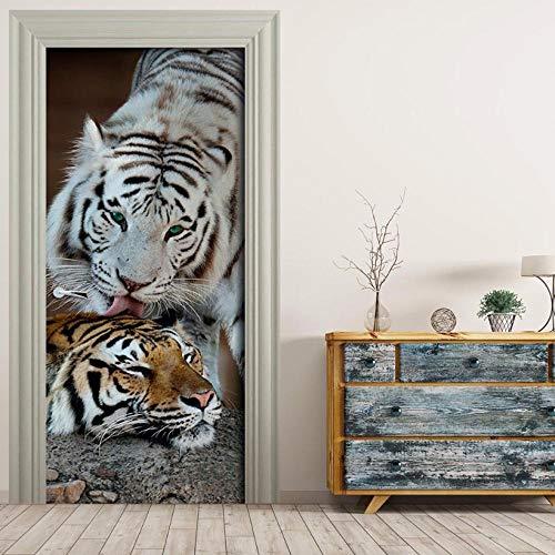 ZZwy Door Stickers 3D Aufkleber PVC Selbstklebend Dreidimensional Tier Tiger Süß (90 * 215Cm) Türaufkleber Türtapete Selbstklebend Türposter Kinderzimmer Fototapete Türfolie Poster Tapete