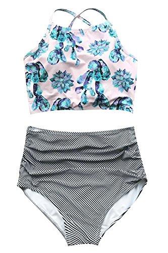 Cupshe Fashion Women's Floral Top Stripe Bottom Padding Bikini Set (L), Multicolor