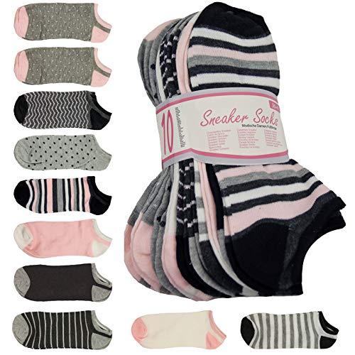 SchönerSchenken 10 er Pack Damen Sneaker Socken Daily Füßlinge mit einem, 36-41, Div. Farben