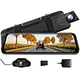 AZDOME Mirror Dash Cam for Car, 10' Touch Screen Rear View Mirror Camera, Front and Rear Mirror Dash Cam With170 Wide Angle, Night Vision, G-Sensor, Parking Assistance, 32G TF Card (Included)