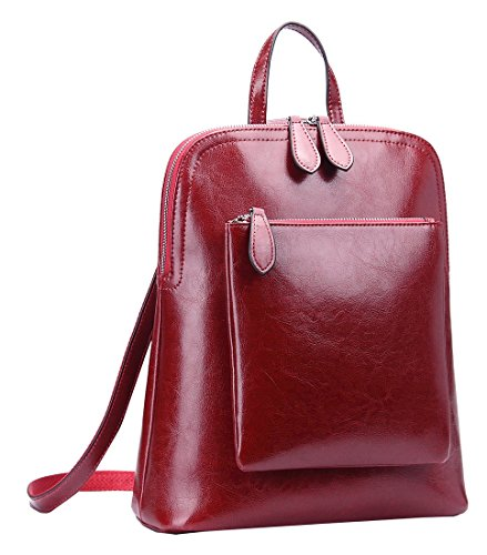 Heshe Women Leather Backpack Casual Daypack Sling Backpack Purse for Ladies and Girls (Wine-Cowhide Leather)