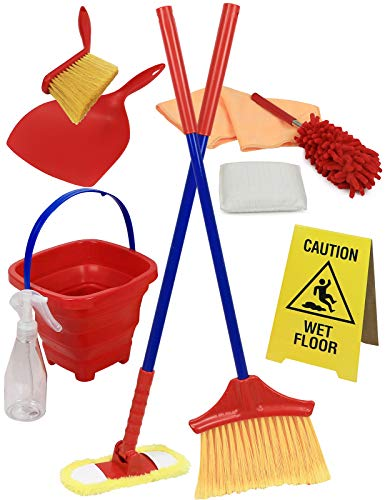 of toy broom and mops Click N' Play Pretend Play Housekeeping Cleaning Set Includes Broom Dustpan Duster Mop Collapsible Bucket Sponge & More (Set of 10)