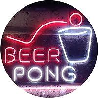 Beer Pong Bar Game Pub Dual Color LED看板 ネオンプレート サイン 標識 白色 + 赤色 400 x 300mm st6s43-i3495-wr