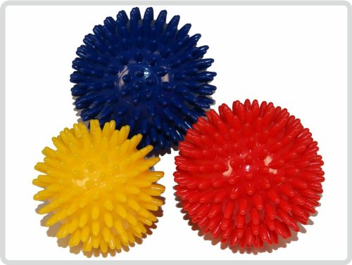 Igelball Igel-Ball Noppenball Massageball 3er-Set (blau, rot, gelb) *Top-Qualität zum Top-Preis*