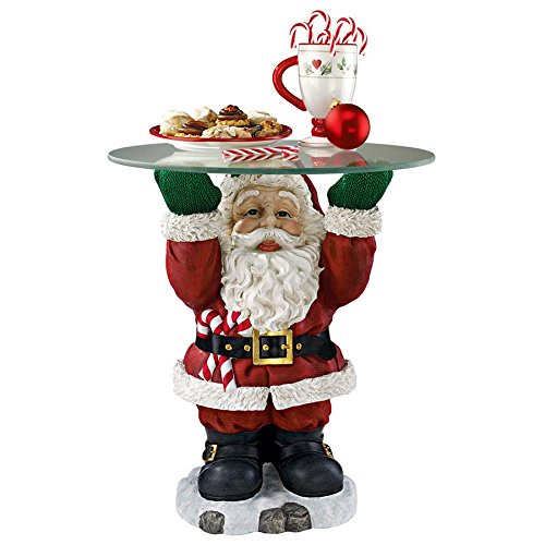 Christmas Decorations - Santa Claus Glass Topped Holiday Decor Side Table