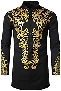 Mens Dashiki African Tribal Clothing Printed Long Henley Shirt Traditional Ethnic Slim Fit Outfit