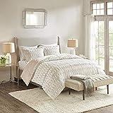 Madison Park Soft Plush Comforter Long Faux Fur Design, Mid Century Modern All Season Down Alternative Bedding Set with Matching Sham, King/Cal King, Natural/Blush
