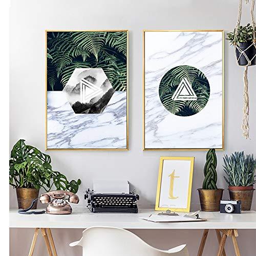 SDFSD Nordic Poster Marmorpflanze Leinwand Malerei Drucke Abstrakte Wandkunst Wandbilder für Wohnzimmer Schlafzimmer Wohnkultur 80 * 120cm
