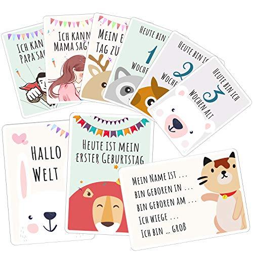 52 Baby Meilensteinkarten für Junge und Mädchen Meilenstein Karten Set +Geschenkbox schöne Geschenkidee zur Geburt, Taufe oder Babyparty Baby Momente(Tiere, Gedenken, Deutsch)