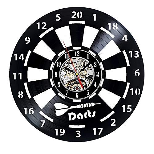 LKJHGU Darts Schallplatte Wanduhr Man Cave Game Room Dekoration 3D-Uhr Wanduhr Darts Board Darts Spiel