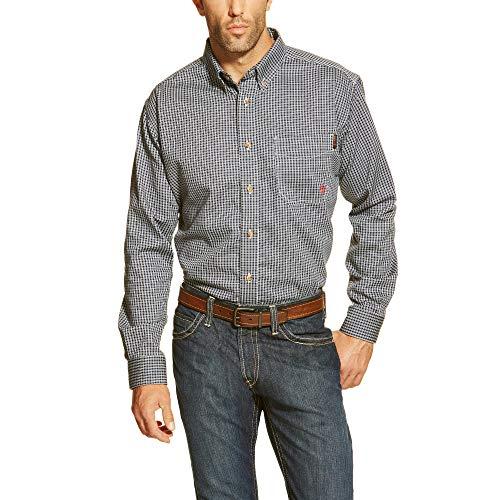 Ariat Men's Flame Resistant Button Down Shirt, Blue Multi, Large