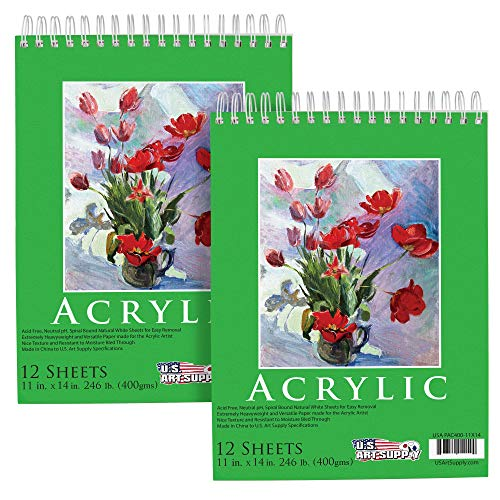 "U.S. Art Supply (Pack of 2 Pads) - 11"" x 14"