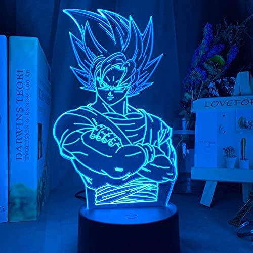 Lámpara De Ilusión 3D Luz De Noche Led Dragon Ball Z Vegeta Super Figura De Acción Modo Multicolor Lámpara De Mesa Óptica Modelo De Decoración Del Hogar
