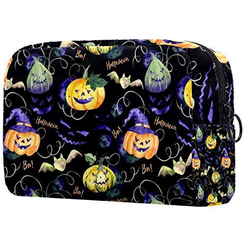 Bolsa de maquillaje para mujer, bolsa organizadora de cosméticos, bolsa de aseo con cremallera de 19 x 7 x 12 cm, fondo de calabaza