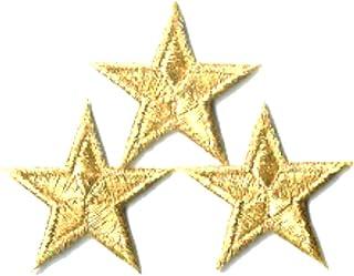 刺繍ワッペン アイロンパッチ ミニ星スター 3個セット NO-5530 (ゴールド)