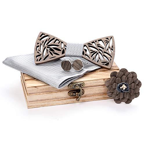 Hölz Fliege Herren,ZOYLINK Handgefertigte Holzfliege Herren Holzfliege ManschettenknöPfe Corsage Quadratischer Schal Fliege Set