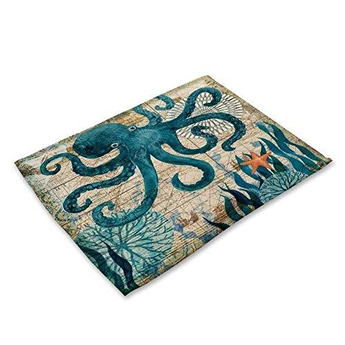 2/4/6 Stück Set Küche Tischsets Baumwolle Leinen Serviette Marine Sea Turtle Octopus Muster Dekorative Tischsets (Color : 3, Size : 4Pieces)