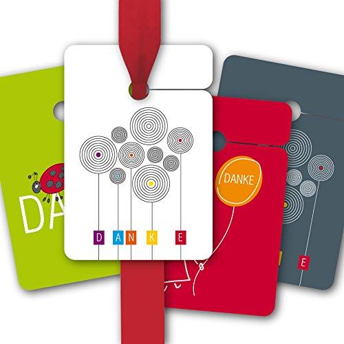 Kartenkaufrausch 8 fröhliche Geschenkanhänger farbig, Papieranhänger mit Marienkäfer und Blumen um stilvoll Danke zu sagen: Danke • zum Verzieren von Geschenktüten