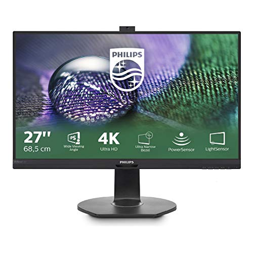 Philips 272P7VPTKEB/00 68 cm (27 Zoll) Monitor (VGA, HDMI, Displayport, IPS Panel, 3x USB 3.0, 3840 x 2160, 60 Hz, 5 ms, Pivot, Webcam) schwarz