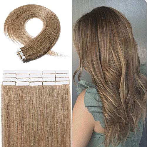 Extension Adhesive Cheveux Naturel - Rajout Cheveux Naturel Pose a Froid 20 Pièces (#27 Blond Foncé, 12\