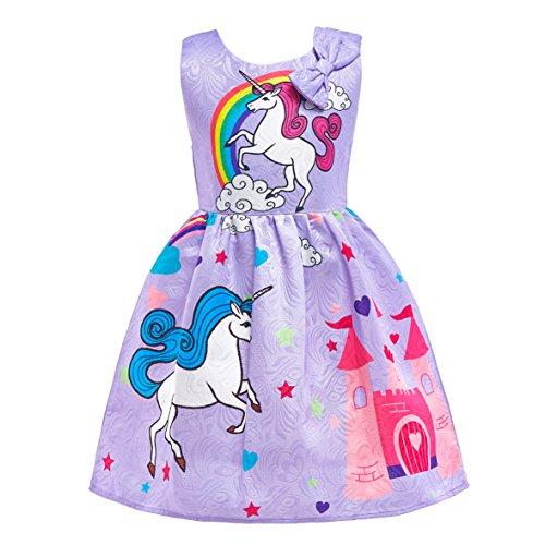 Lito Angels Dziecięcy kostium księżniczki Rainbow wróżka jednorożec sukienka na karnawał fioletowy 3-4 lata