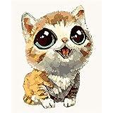 Pintura por Número De Kit DIY Regalos Gato De Ojos Grandes De Dibujos Animados Lindo Acrilico Pintura Kit Kit De Pintura Niños Pinturas con Numeros para Adultos 40X50Cm