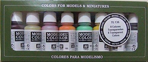 Vallejo Model Kleur Transparant Kleuren Acryl Verf Set - Verschillende Kleuren (Pak van 8)